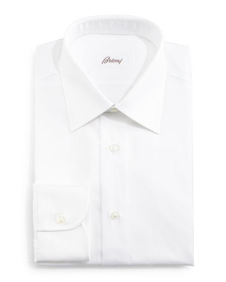 Herringbone-Stripe Dress Shirt, White