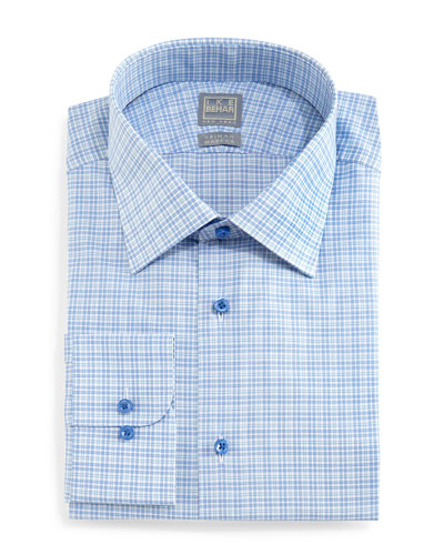 Check Woven Dress Shirt, Aqua