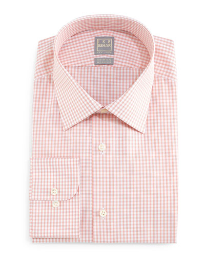 Graph-Check Dress Shirt, Orange