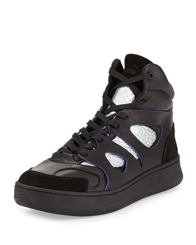 McQ Mid-Move High-Top Sneaker, Black/Silver