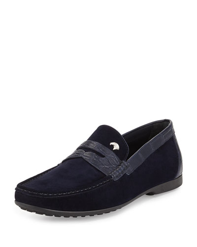 Stefano Ricci Suede Penny Driver, Navy