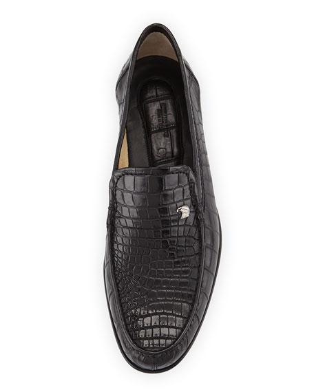 Crocodile Leather Loafer, Black