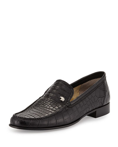 Crocodile Leather Loafer, Black