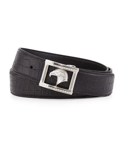 Eagle-Head Crocodile Belt, Black