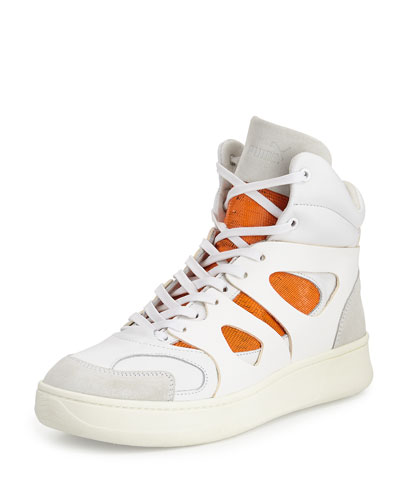 McQ Mid-Move High-Top Sneaker, White/Orange