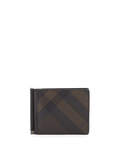 Quillen Smoke Check Bifold Money Clip/Wallet, Black/Brown