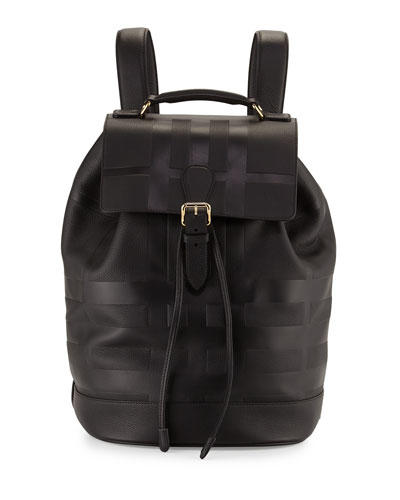 Riverton Embossed-Check Pebbled Leather Backpack, Black