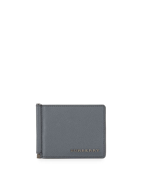 Burberry Pebbled Leather Money Clip Wallet, Gray