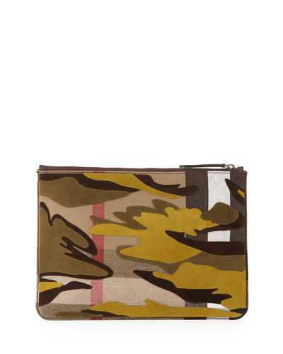Camo-Print Leather Document Case, Dark Cedar Green
