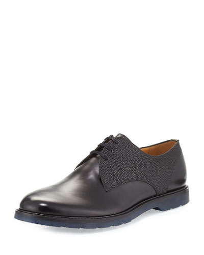 Pebbled Leather Oxford Shoe, Black
