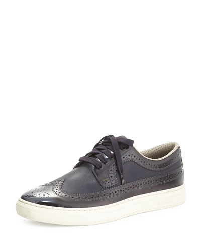 Merced Brushed Leather Brogue Trainers, Blue