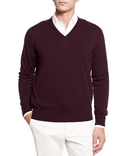 Baby Cashmere V-Neck Sweater, Burgundy