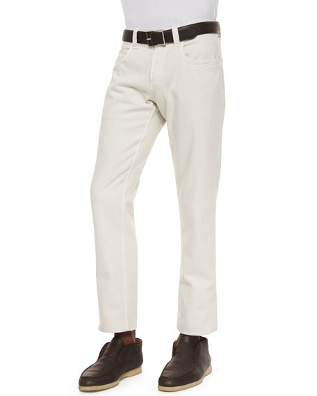 Loro Piana Four-Pocket Cotton-Stretch Jeans, White