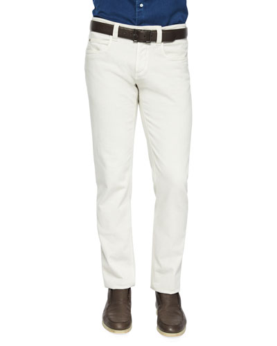 Five-Pocket Stretch Denim Jeans, Cream