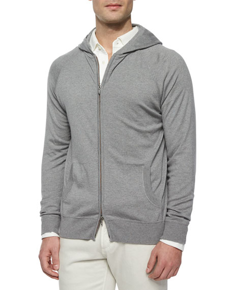 Hooded Full-Zip Bomber Sweater, Blue