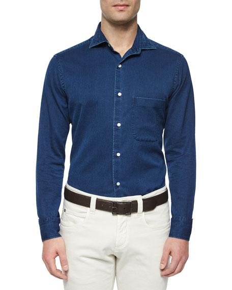 Loro Piana Alain Denim Long-Sleeve Sport Shirt, Indigo
