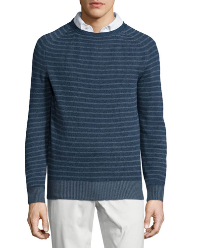 Baby Cashmere Striped Crewneck Sweater, Blue