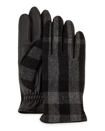 Oscar Wool & Leather Check Gloves