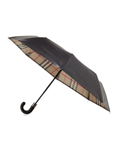 Strand Check-Reverse Umbrella, Camel
