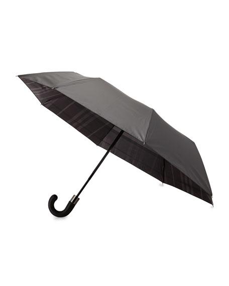 Burberry Strand Check-Reverse Umbrella, Charcoal