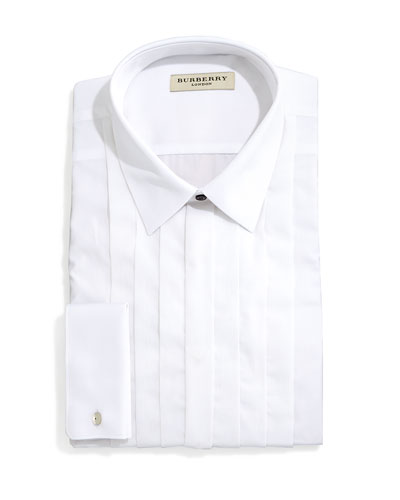 Eve Slim-Fit Tuxedo Shirt with Pleated Bib, White