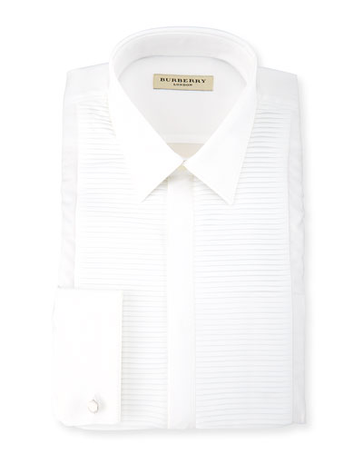 Pleated-Bib Evening Shirt, White