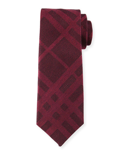 Tonal Check Silk Tie, Red