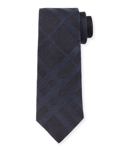 Tonal Check Silk Tie, Navy