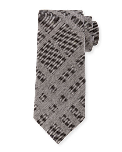 Tonal Check Silk Tie, Gray
