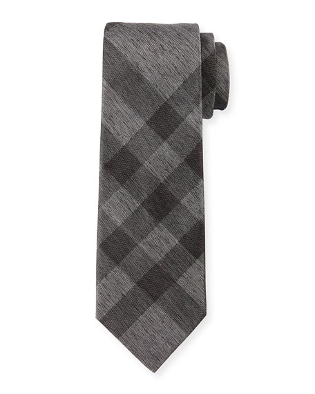 Burberry Exploded-Check Silk Tie, Charcoal