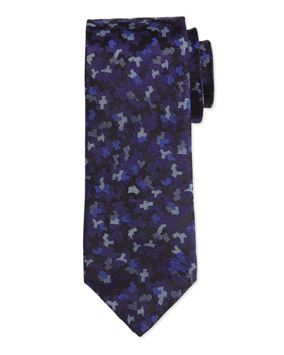 Mini Camo-Print Silk Tie, Navy