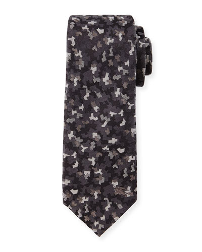 Textured Mini Camo-Print Silk Tie, Charcoal