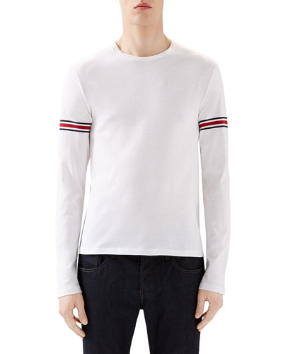 White Crew Long-Sleeve T-Shirt w/ Black/Red/Black Arm Band