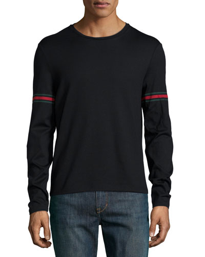 Black Long-Sleeve T-Shirt w/ Green/Red/Green Arm Band