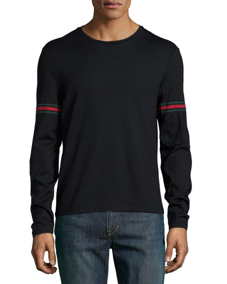 Gucci black long sleeve t shirt w green red green arm for Shirts for men with long arms