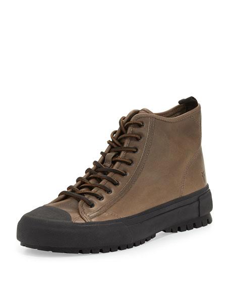 Frye Men's Ryan Lugged-Sole High-Top Sneaker, Gray