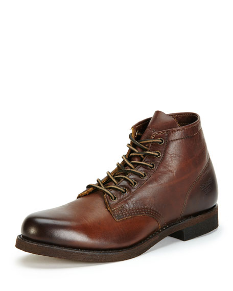 FryeMen's Prison Leather Boot with Lugged-Sole, Dark Brown