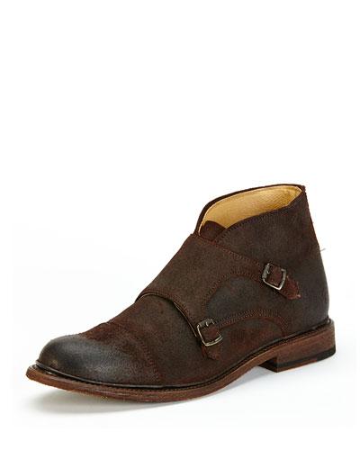 Jack Monk-Strap Suede Chukka Boot, Dark Brown