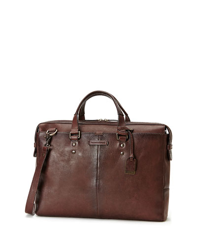 Ben Artisan Leather Briefcase, Dark Brown