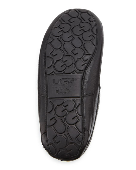 Men's Ascot Leather Slipper, Black