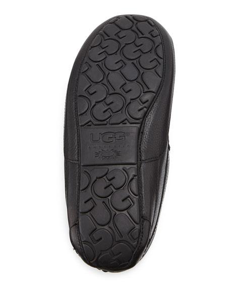 Men's Ascot Leather Slipper, Black