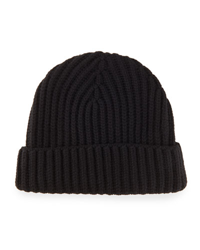 Ribbed Cashmere Beanie Hat, Black