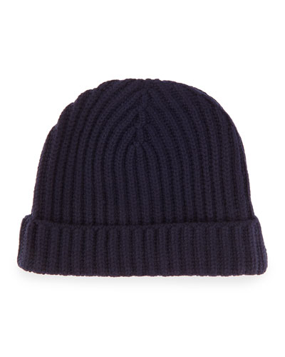Ribbed Cashmere Beanie Hat, Navy