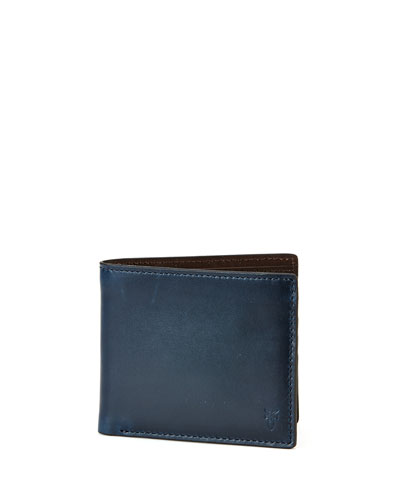 David Leather Bi-Fold Wallet, Navy