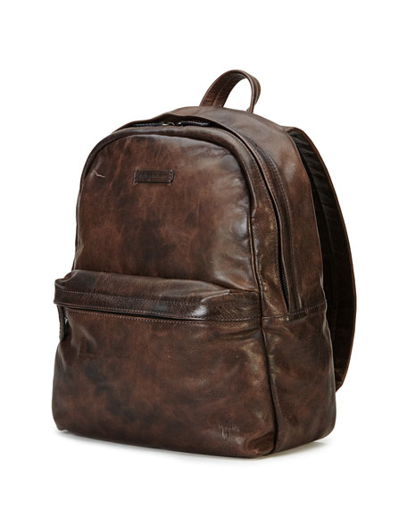 Frye Tyler Rugged Leather Backpack, Gray