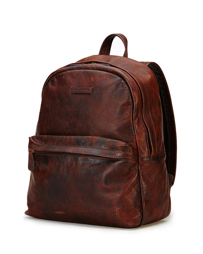 Tyler Rugged Leather Backpack, Dark Brown