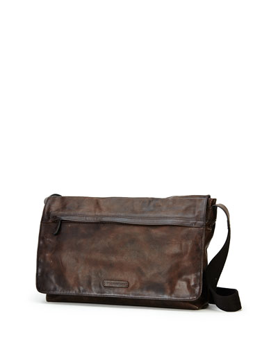 Tyler Leather Messenger Bag, Gray
