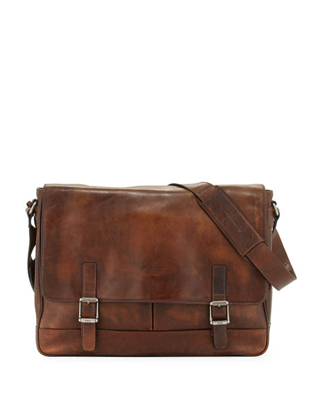 Frye Oliver Men's Leather Messenger Bag, Dark Brown