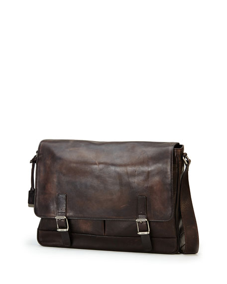 Oliver Leather Messenger Bag, Gray