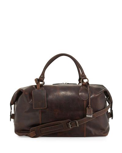Logan Leather Overnight Bag, Dark Brown